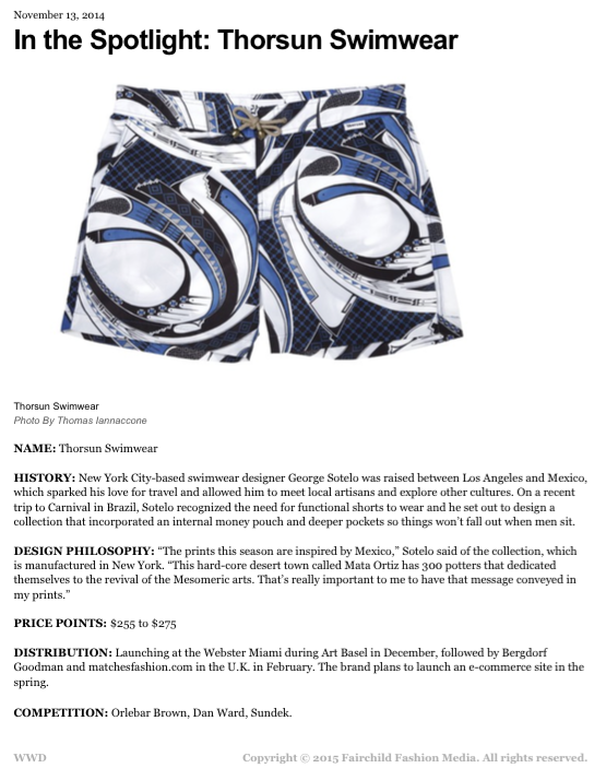 WWD, WWD Magazine, Women's Wear Daily, In the Spotlight Thorsun Swimwear, Thorsun, Thorsun Swim