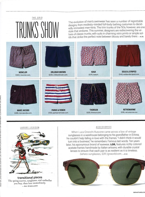 Departures, Departures Magazine  , The Grid, Trunks Show, Thorsun, Thorsun Swim