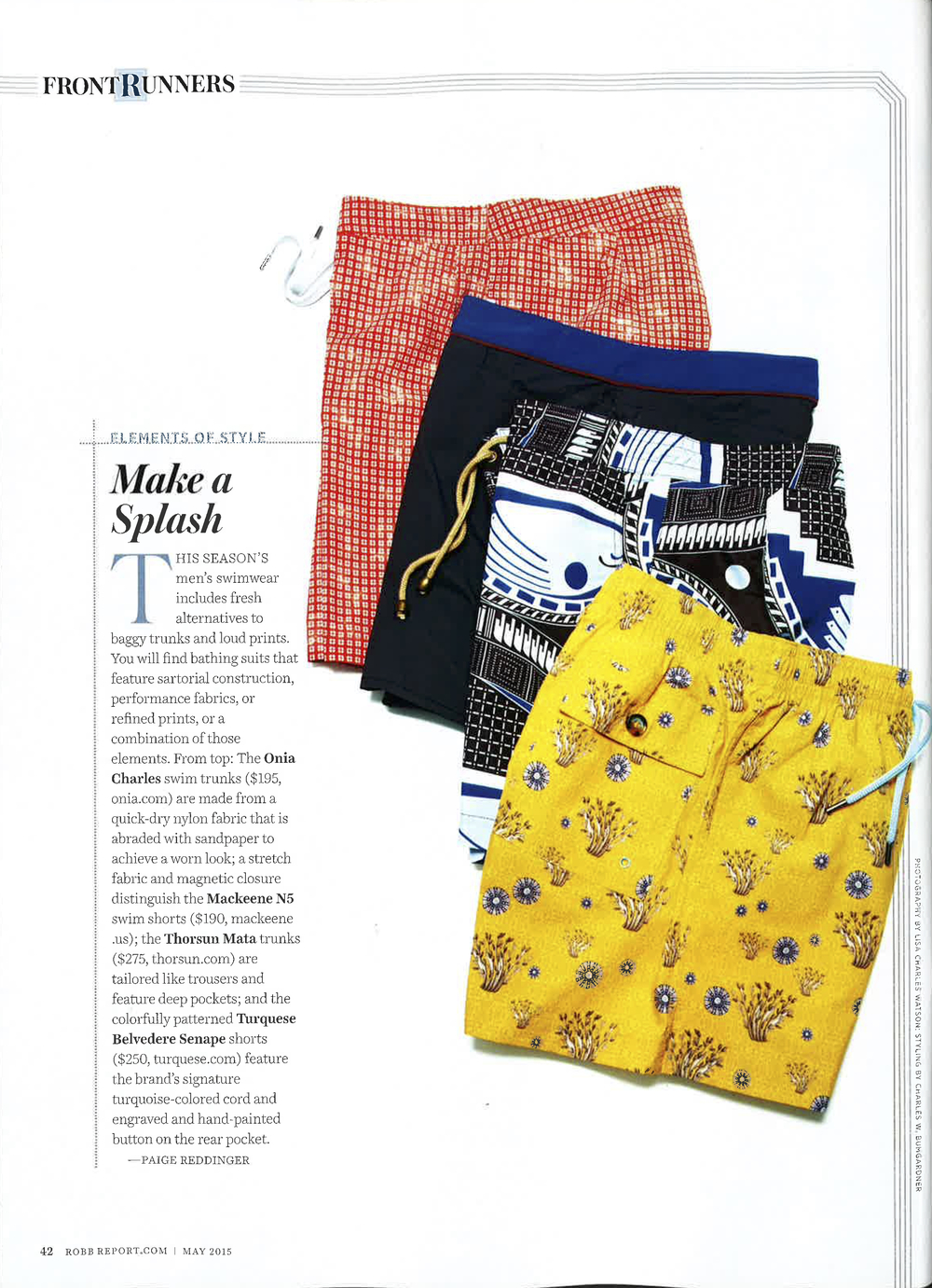 Robb Report, Robb Report Magazine, Elements of Style, Make a Splash, Thorsun, Thorsun Swim