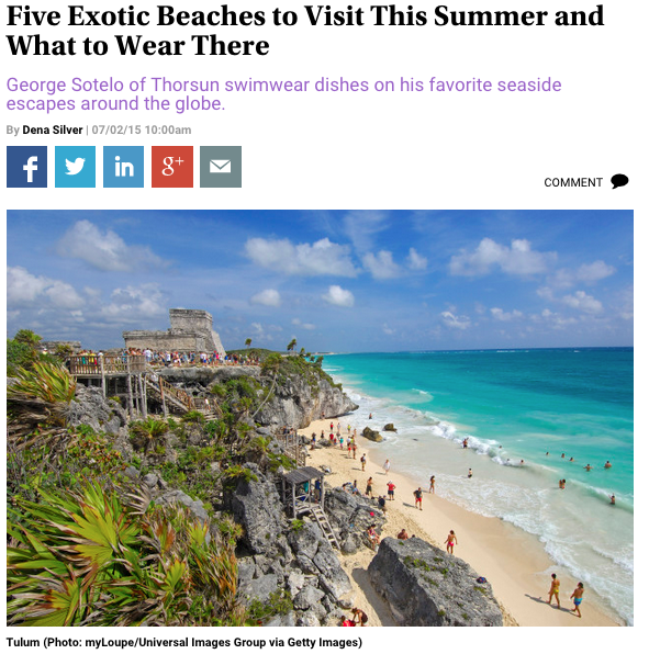 Observer, July 2015, Five Exotic Beaches to Visit This Summer and What to Wear There, George Sotelo, Swim, Swimwear, Men's Swimwear, Thorsun, Thorsun Swim