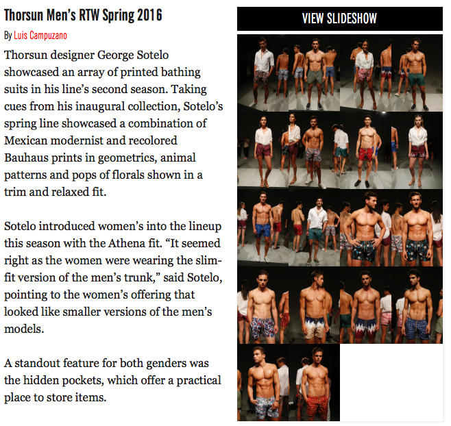 WWD, WWD Magazine, Women's Wear Daily, Thorsun Men's RTW Spring 2016, Thorsun, Thorsun Swim
