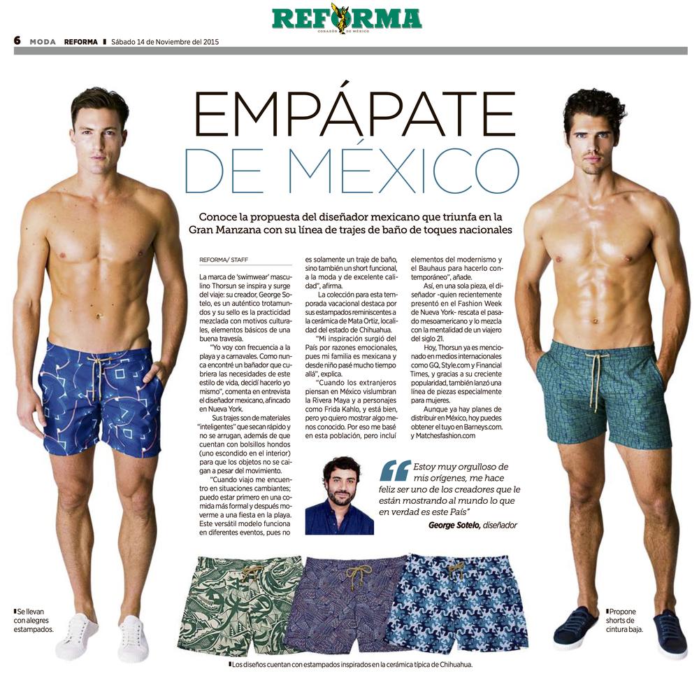 Reforma, Diario Reforma, Mexico, Noviembre  2015, Trajes de Baño,Swim, Thorsun, Thorsun Swim
