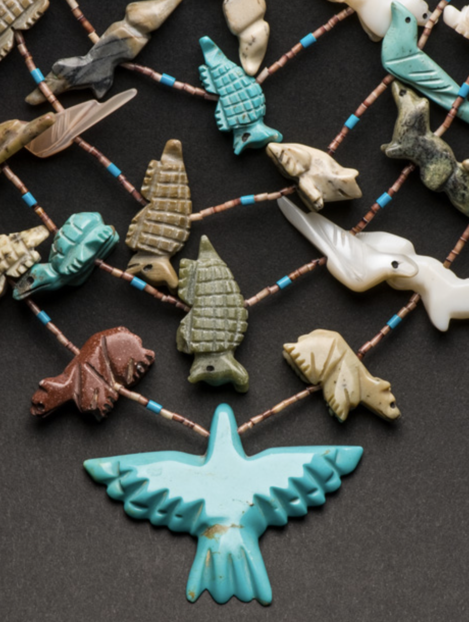Native American jewelry often features carved turquoise birds and animals, called fetishes. - Courtesy Jaime Steelman