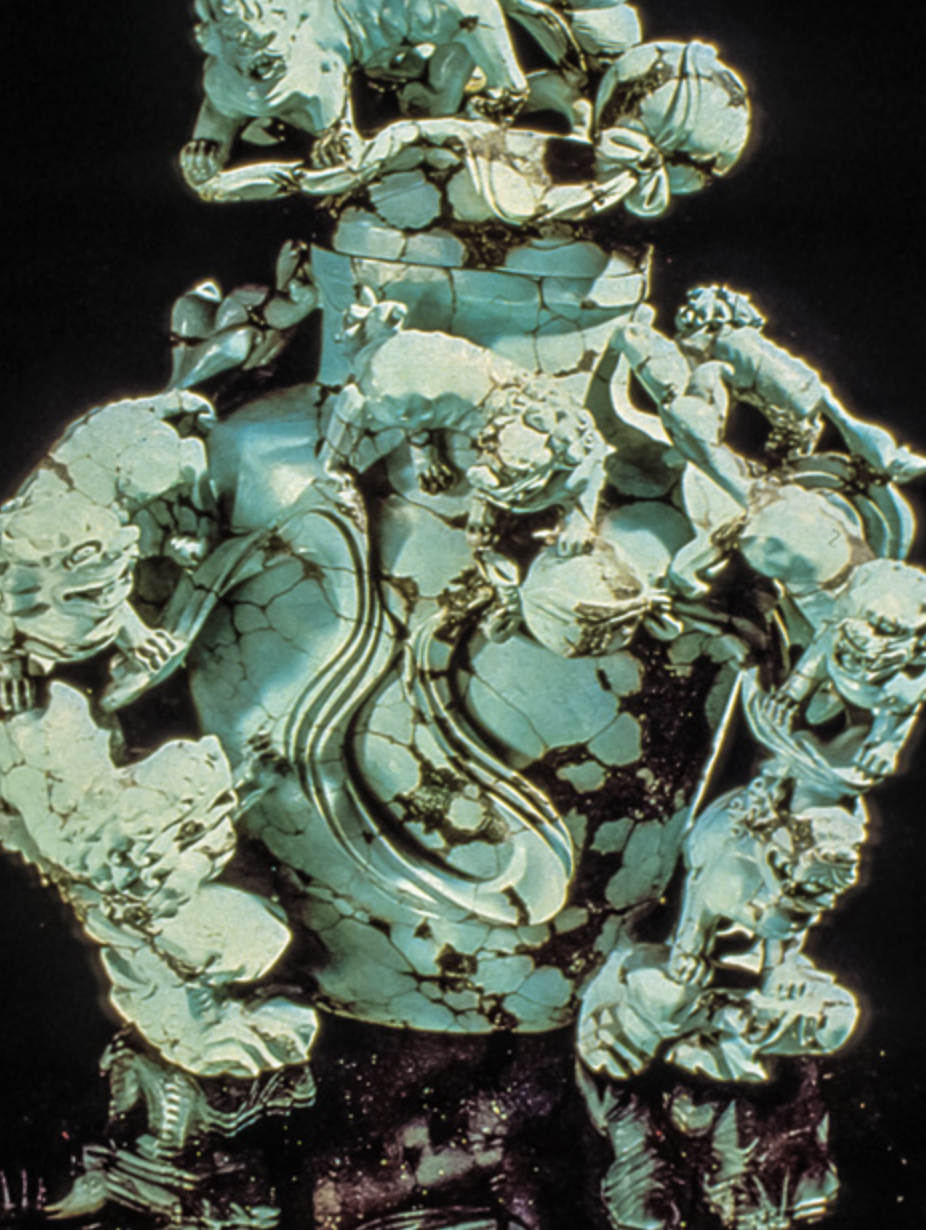 Turquoise is soft enough to be carved. This turquoise from China was crafted into an ornate vase. – Courtesy Geological Museum, Beijing, China