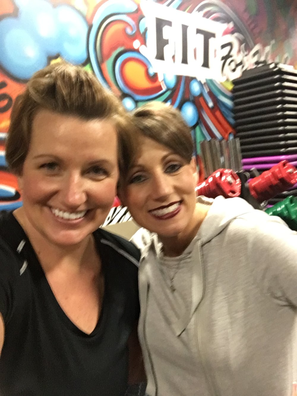 After- It's blurry because my arms were shaking.  And please notice how flawless Adana, our teacher, is even after the workout!  #goals