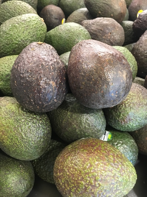 My perfectly ripe avocados. You can see how dark they are compared to the ones still needing to ripen.