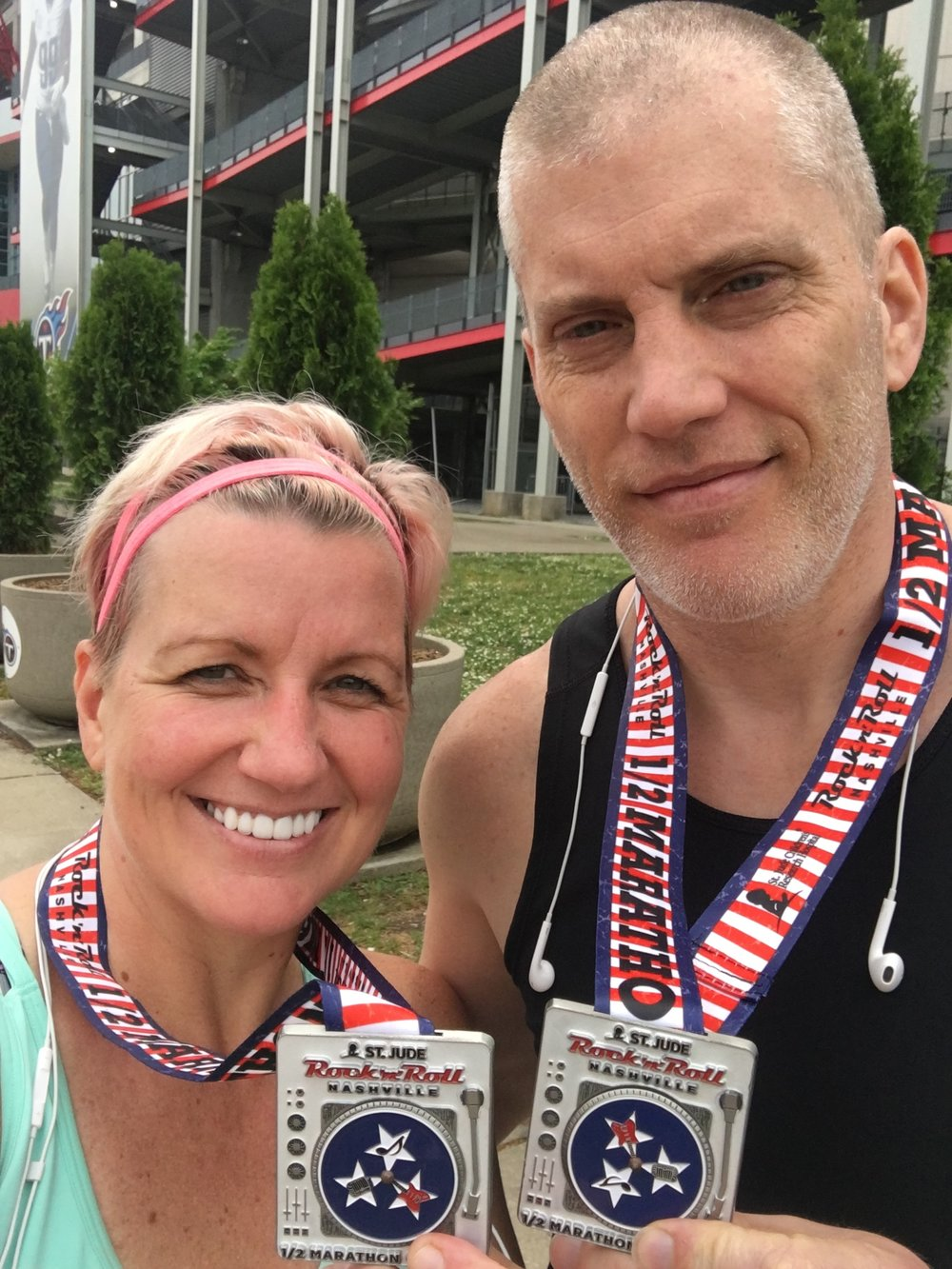 Scott and I after finishing the Nashville Half Marathon, May 2016
