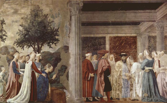 Piero della Francesca Adoration of the holy wood and meeting of solomon and queen of sheba.jpg