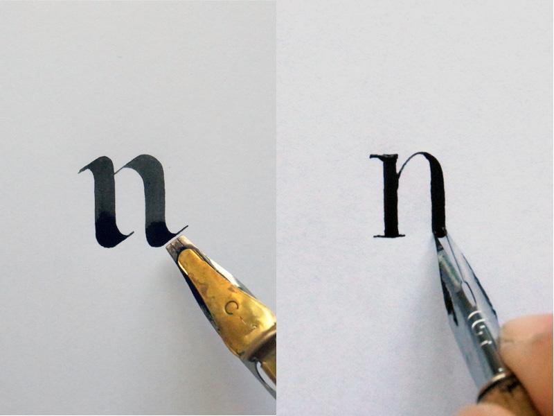 左圖:平頭沾水筆書寫的筆劃  右圖:尖頭沾水筆書寫的筆劃