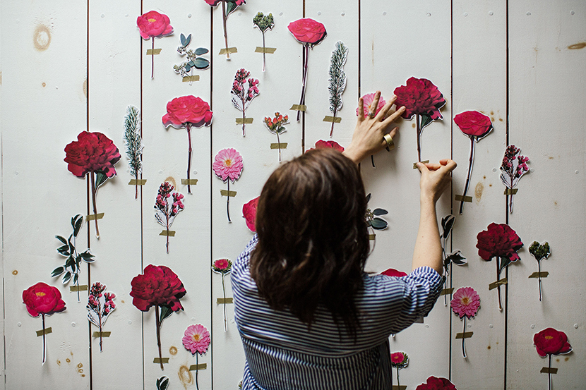 floral wall diy party