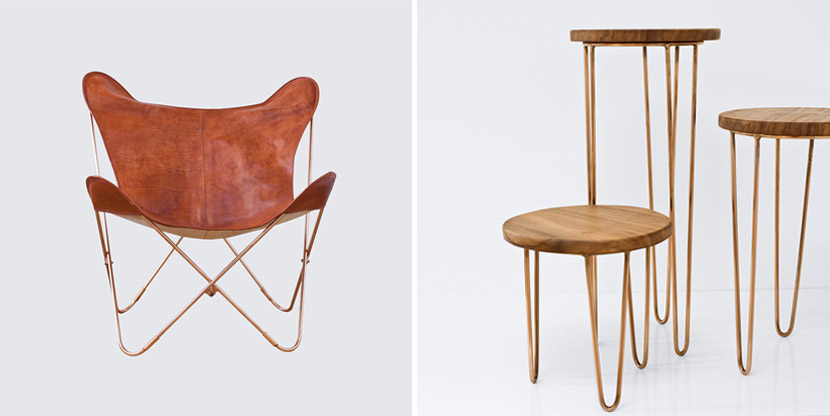 the citizenry leather chair wood copper tables