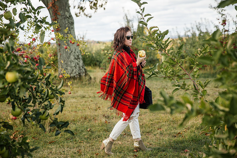 fall plaid outfit white jeans