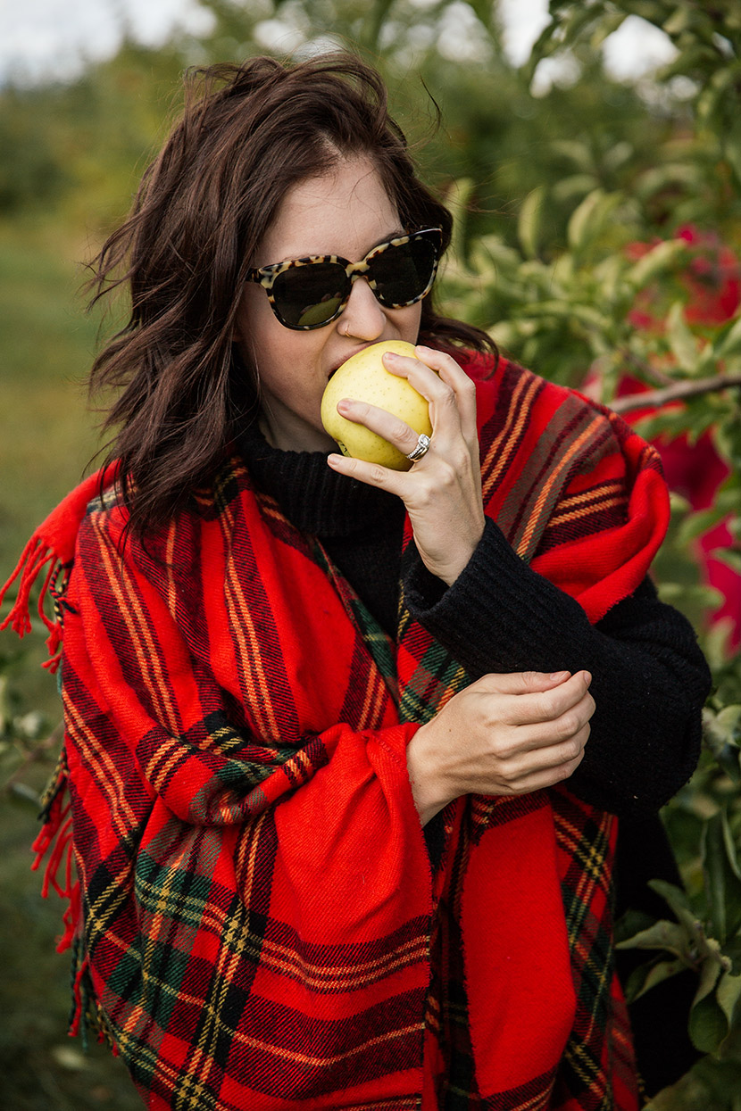 plaid cape fall outfit warby parker sunglasses