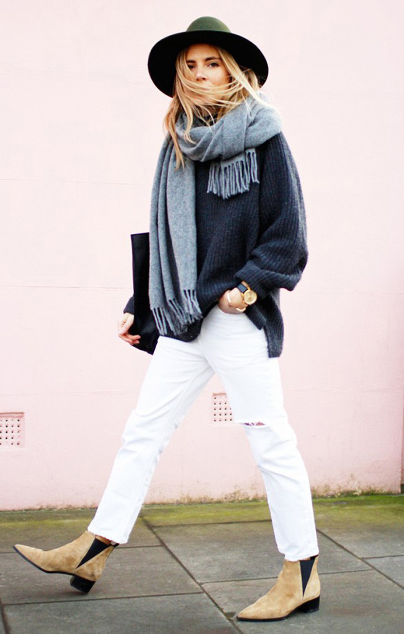 winter white jeans outfit