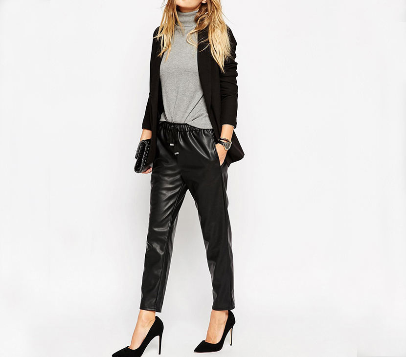 elastic leather pants outfit