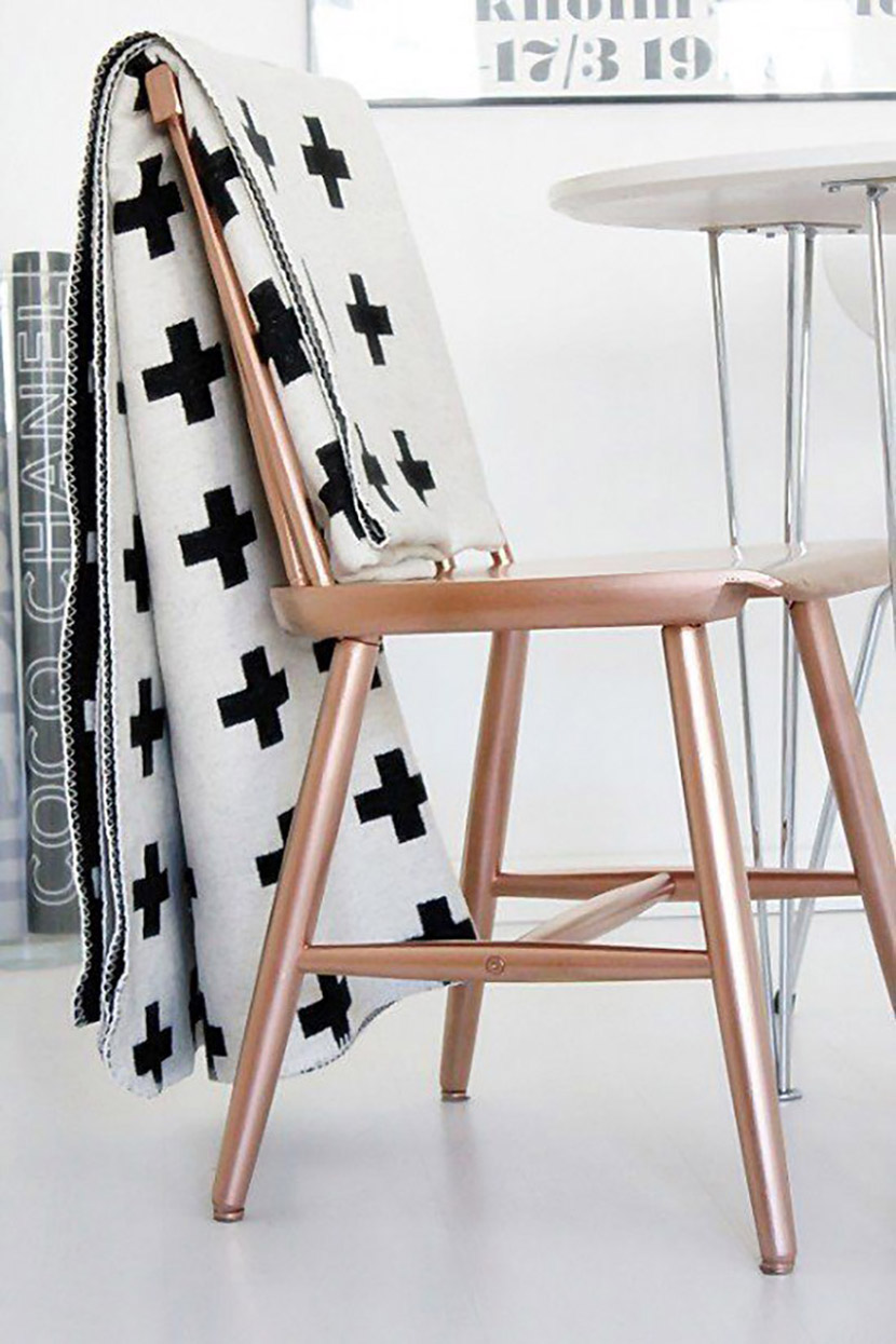 diy copper spray paint chair
