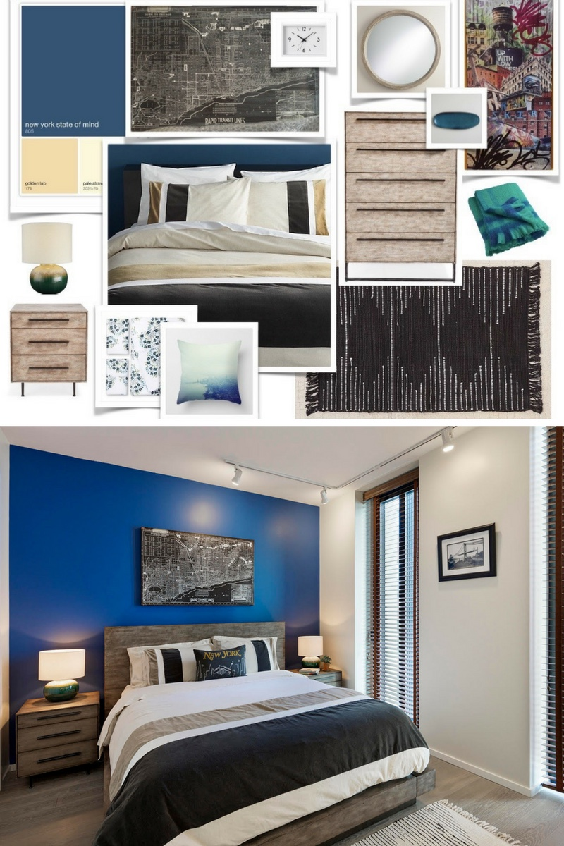 Inspiration & Realization navy wall guest room