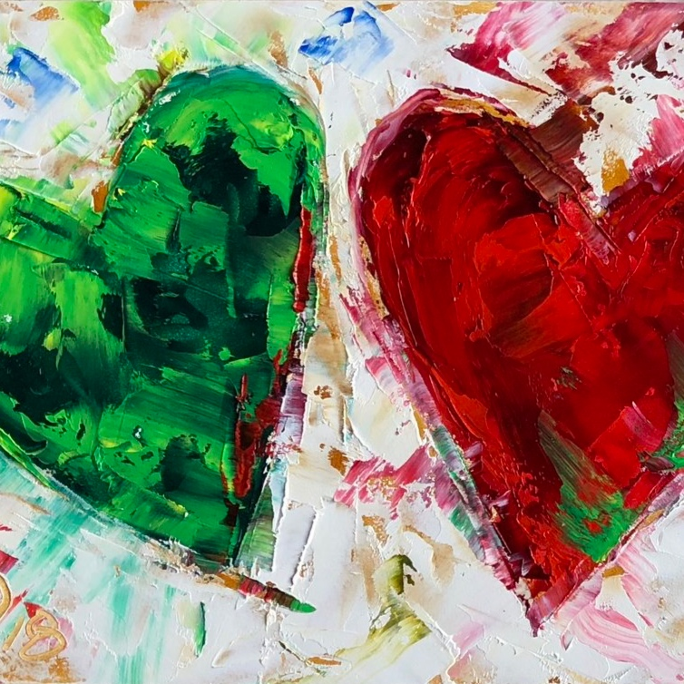 family heart portraits - Represent the love of your family with a portrait of hearts in each member's favorite color or birthstone.