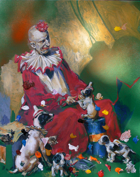 "Clown/Puppies, 24""x20"", acrylic on canvas, 2010"