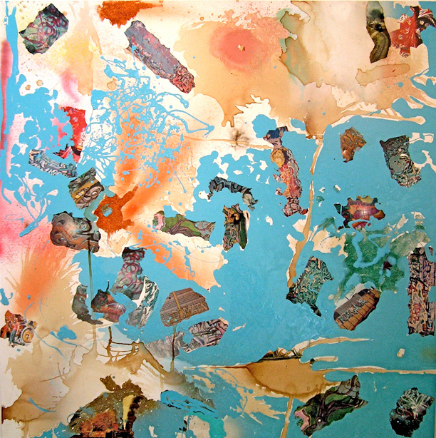 "Noisescape, 48""x48"", mixed media on canvas, 2009"