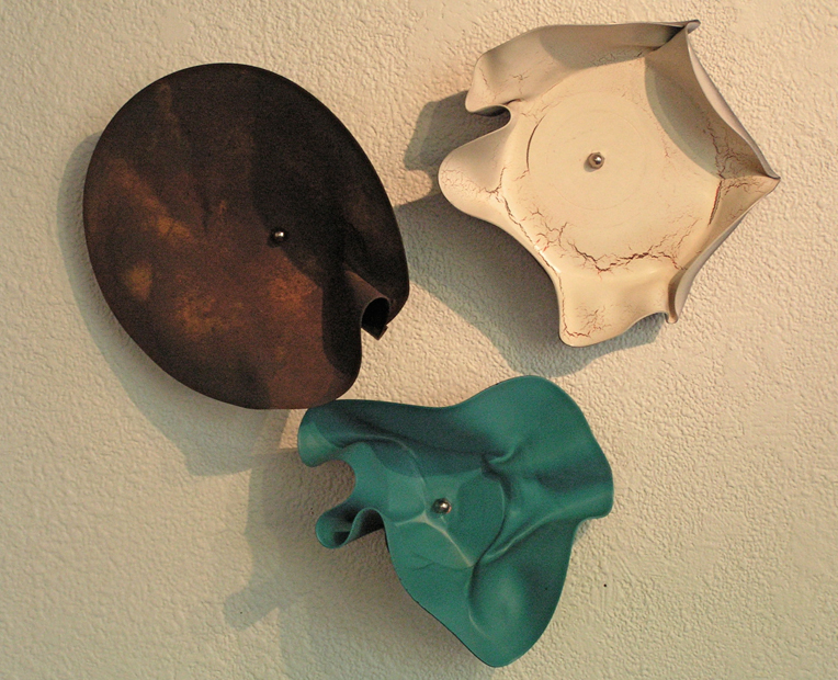 "Trio, 18""x20"", painted vinyl records, 2010"