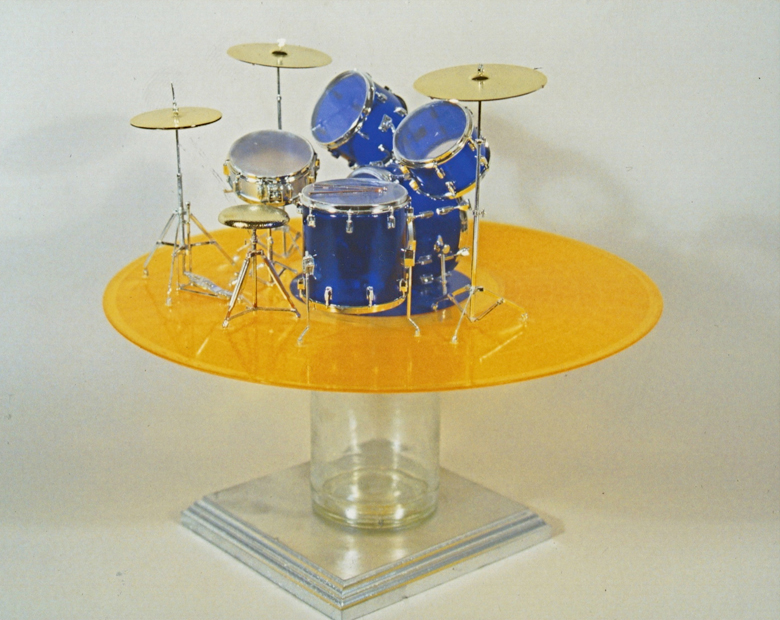 "Drum Solo, 12""x18""x12"", model drum kit, vinyl LP, glass jar, 2007"