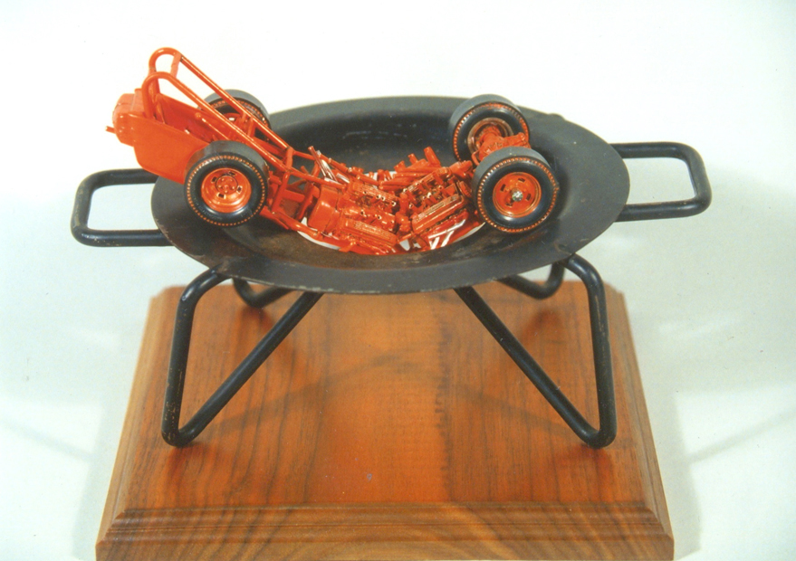 "Hot Rod, 12""x6""x12"", model car, bunsen burner, wood, 2007"