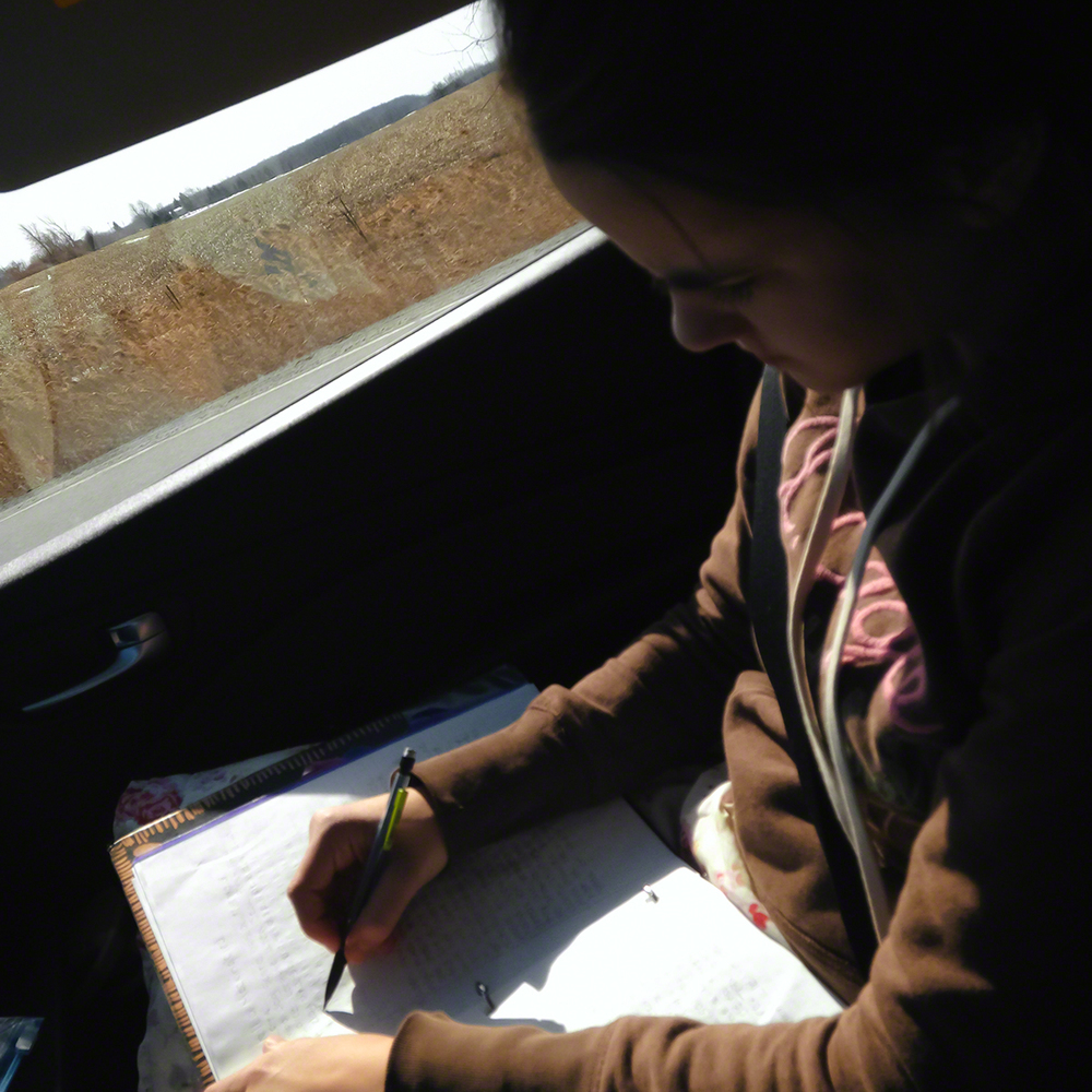 Homework in the car