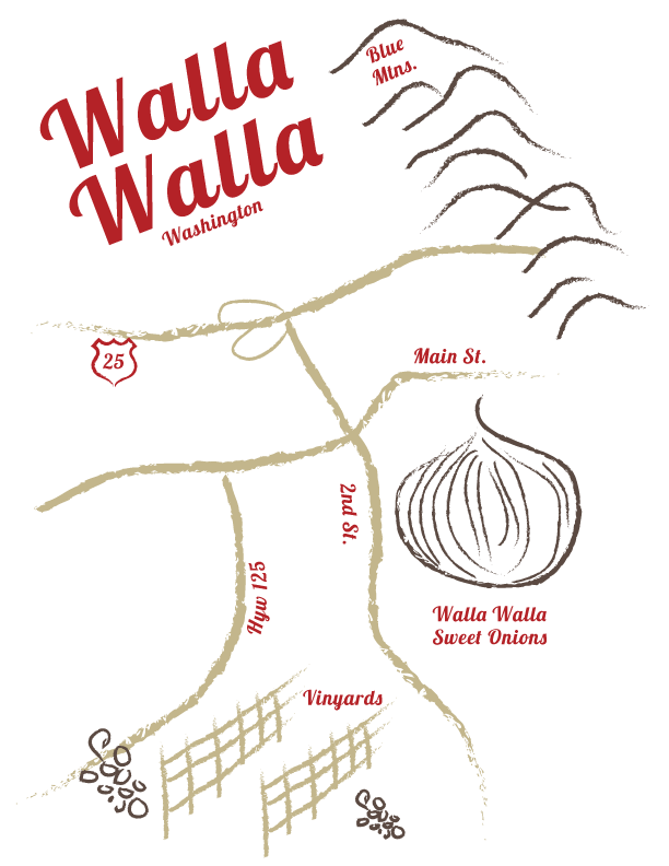 Custom Illustration of Walla Walla, WA