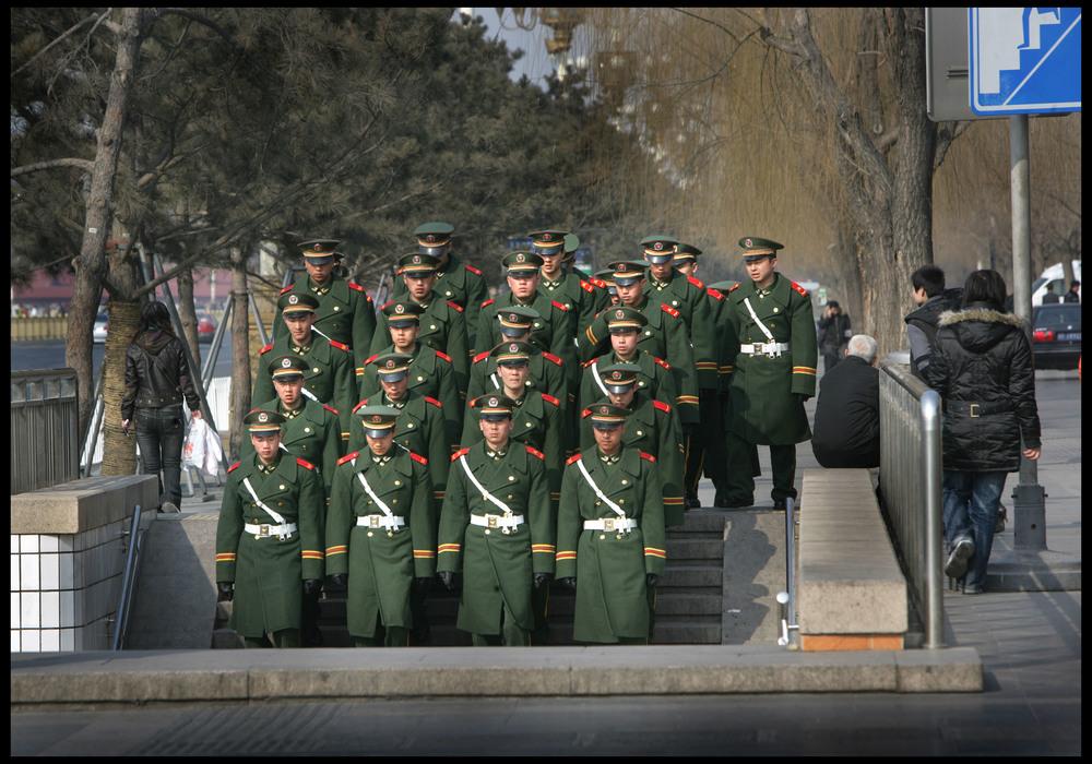 Soldiers going underground, Beijing