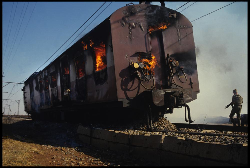 Sabotaged train, The Hostel Wars, Katlehong, Johannesburg