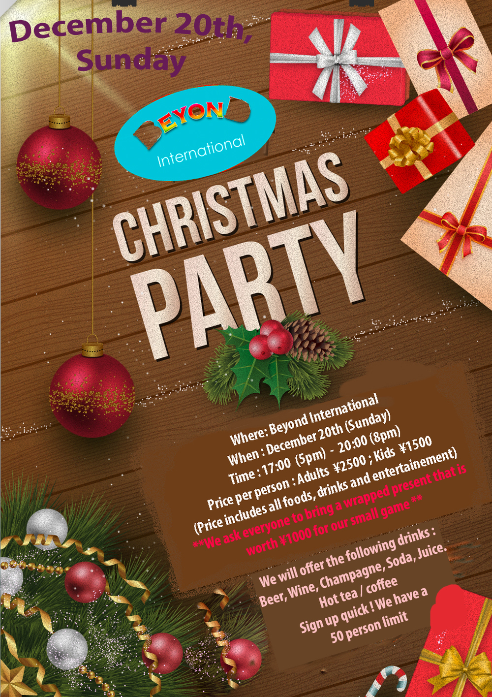 PSD Flyer Design for the traditional yearly Christmas party.