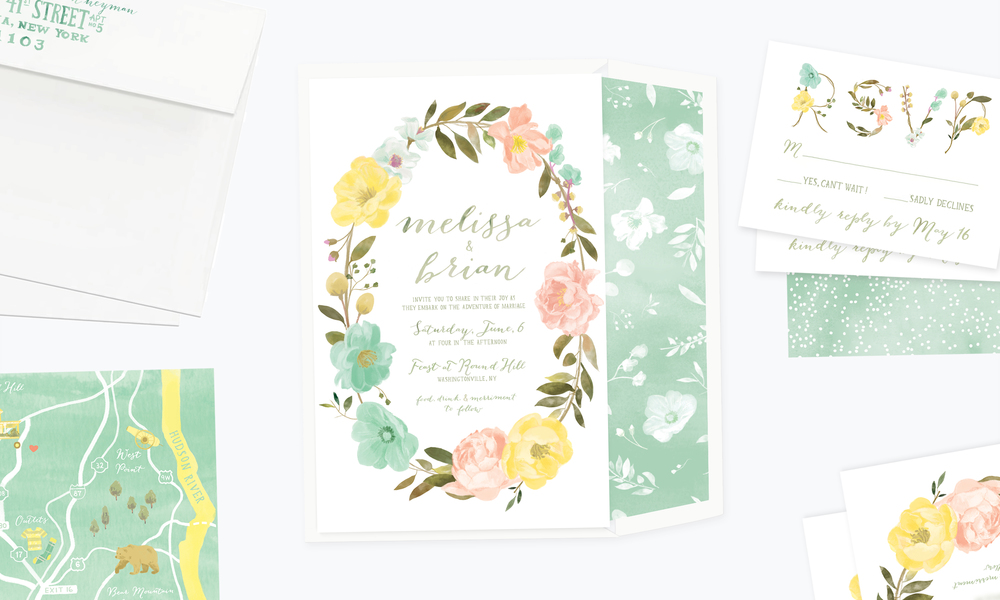 Floral Wreath Wedding Stationery Suite by Yay Paper Co.