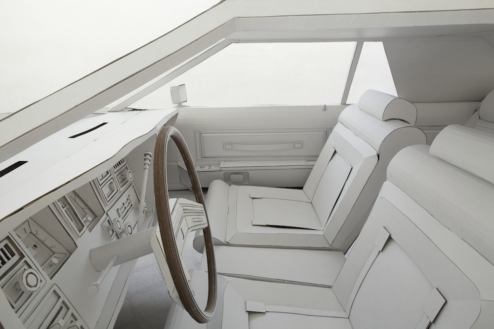 Shannon Goff:  Miles to Empty , 2015, (Lincoln Continental Mark V, interior view), cardboard. Photo: P.D. Rearick.