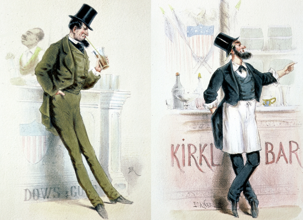Two views of the American Bar in the ring of restaurants of the exposition. Fairgoers would have appreciated the symbolism of the American Civil War; but the rye grass straws made the strange American drinks -- such as the Brandy Smash and Mint Julep -- taste even more bizarre.