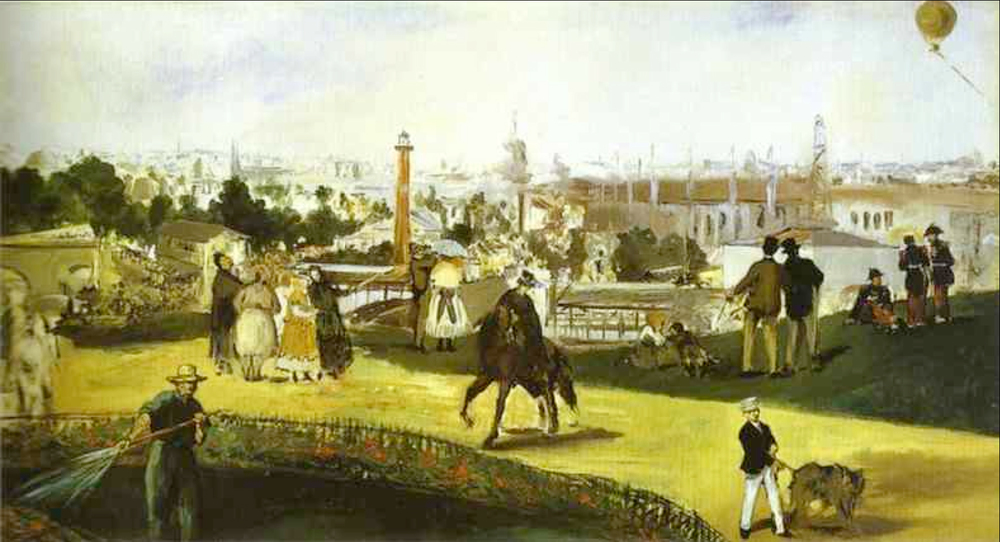 Edouard Manet's painting of the 1867  Exposition Universelle -- Nadar's balloon visible on the upper right