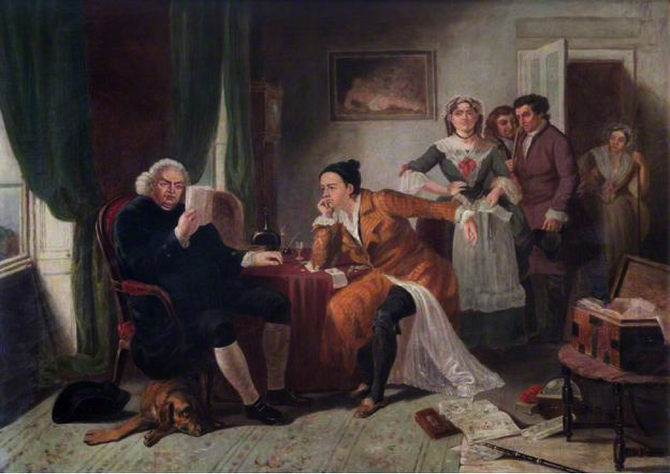 "Edward Matthew Ward, ""Doctor Johnson Reading Oliver Goldsmith's The Vicar of Wakefield"" (1845)"