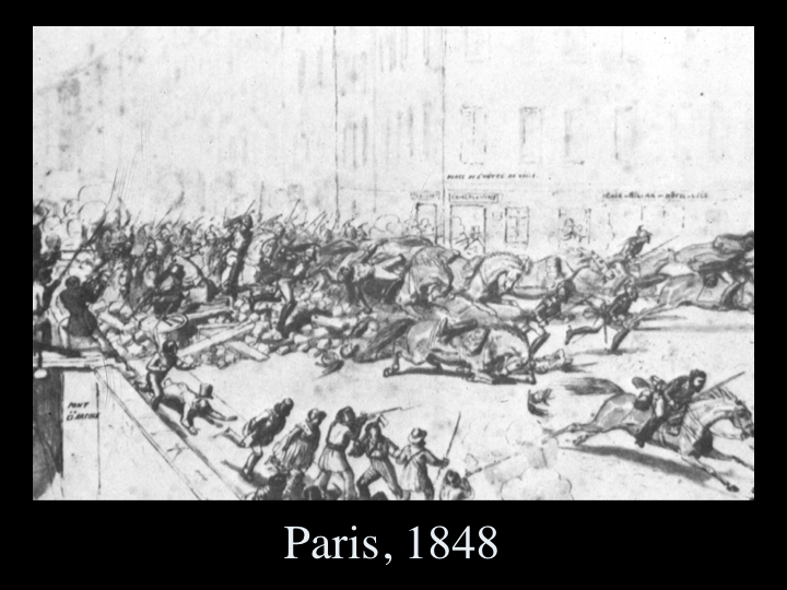 Nahl studied in Paris at a time when the city was convulsed in revolution. This is a sketch Nahl made of a crowd rushing past a barricade.