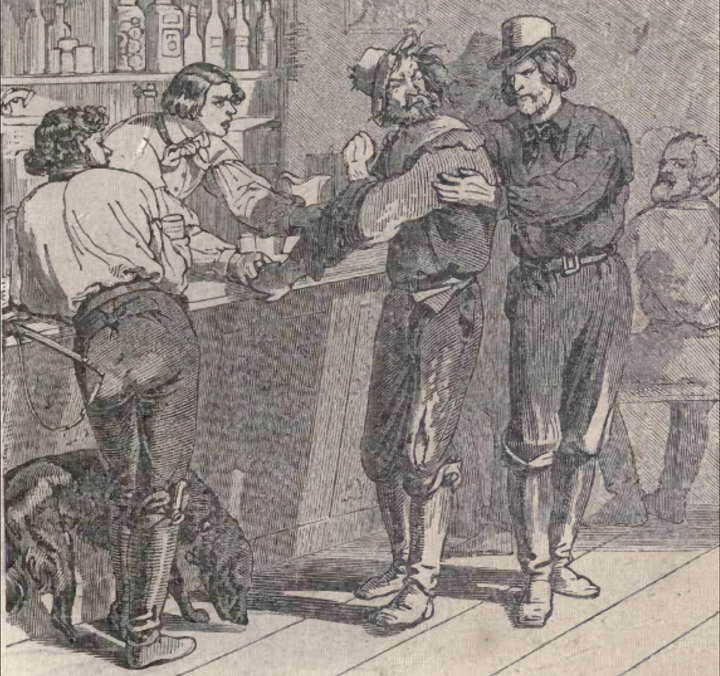The idle miner rebuffs his friend's attempt to get him out of the saloons and gambling halls.
