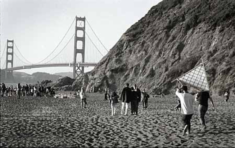 First Burning Man, Baker's Beach, San Francisco, 1989
