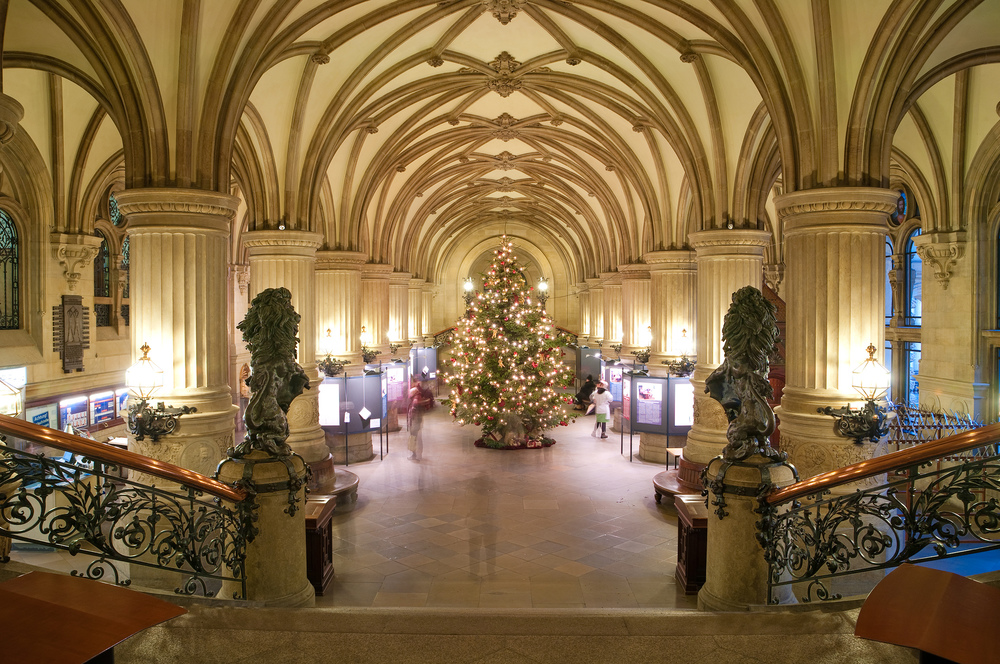 Christmas tree in a city hall gallery