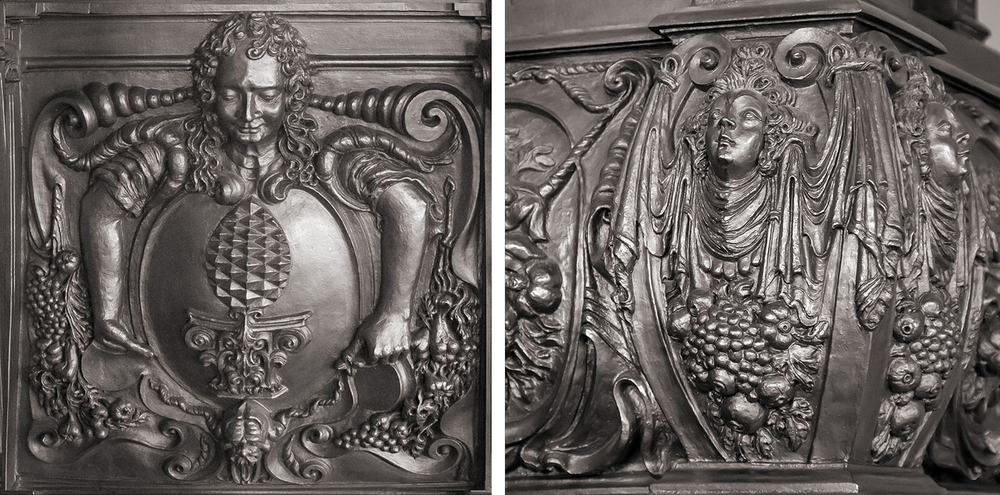 Details of stove in the Prince's Room (photo by Rainer Fritz) -- note the Augsburg pinecone atop the ionic capital in the left panel)