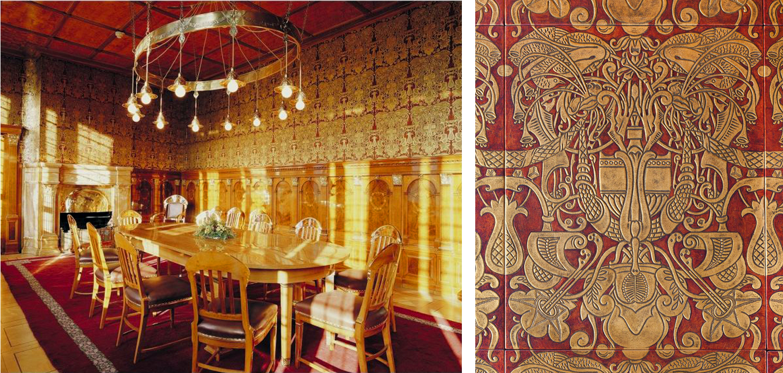 The Golden Room and wallpaper detail, by Heinrich Vogeler, 1905 (photos by Jobenau, left, and Birnbaum, right)