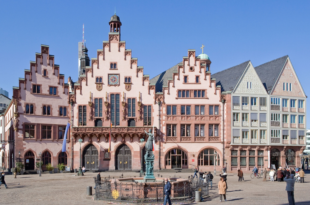 The five connected houses of the city hall of Frankfurt am Main
