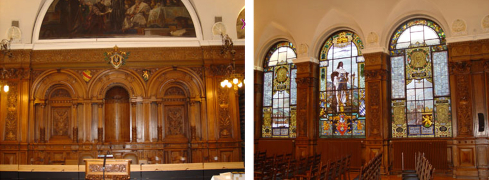 Two views of the main meeting hall