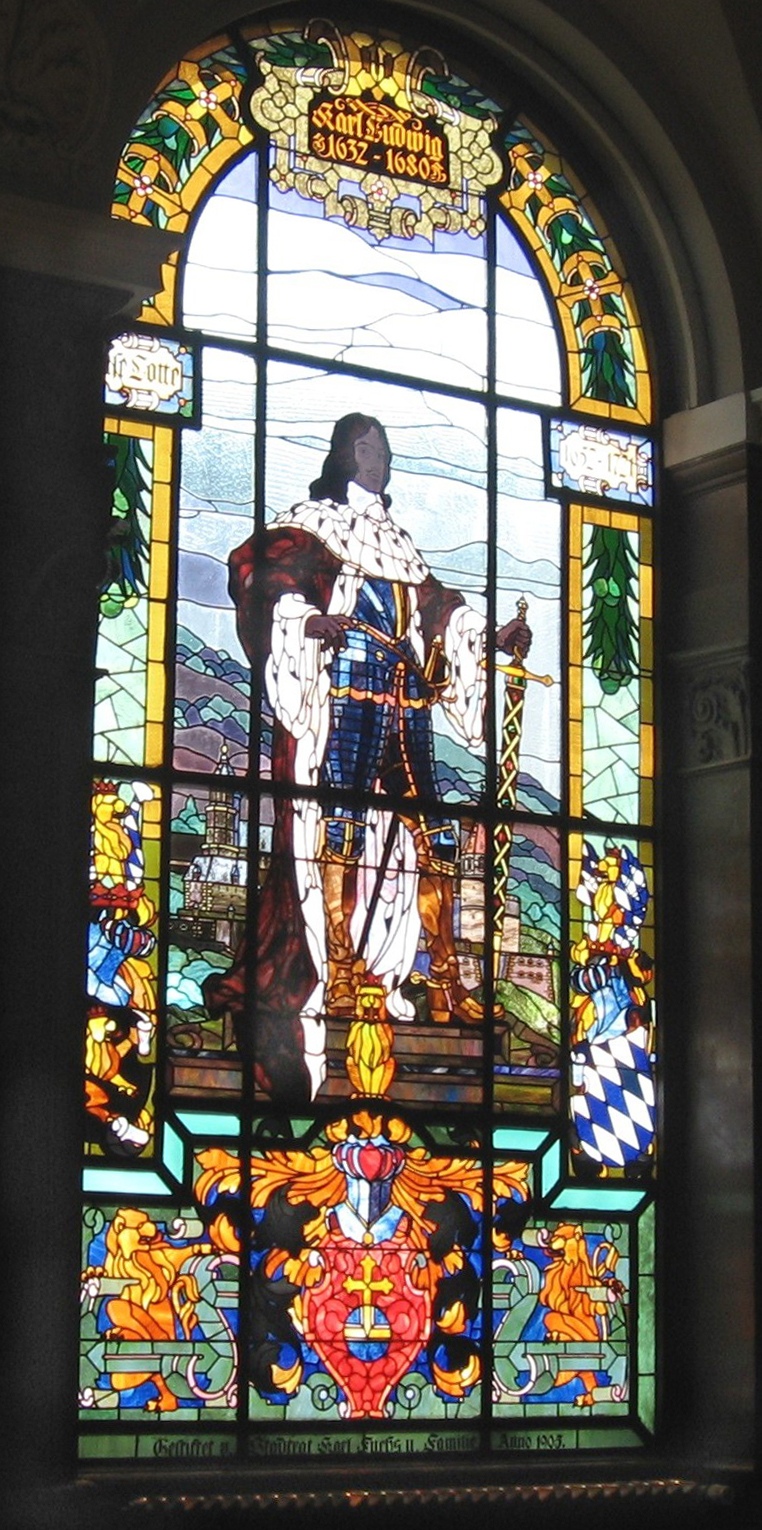 Stained glass representation of Karl-Ludwig I in the main meeting hall (photo by Michael Linnenbach)