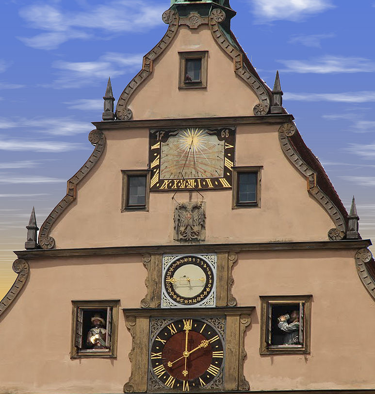 Astronomical clock on the adjacent city hall building