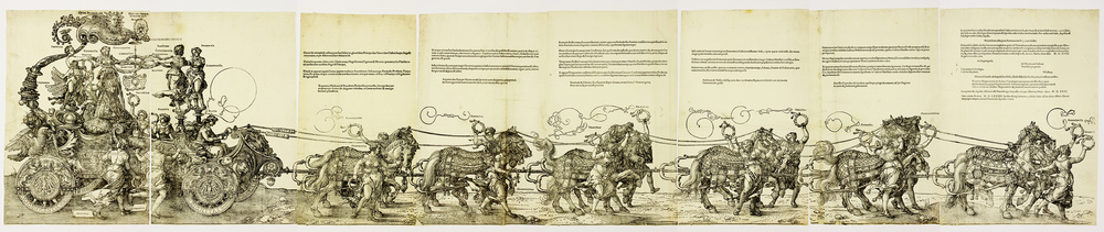 Print of the great triumphal Procession mural by Dürer in the Nuremberg City Hall