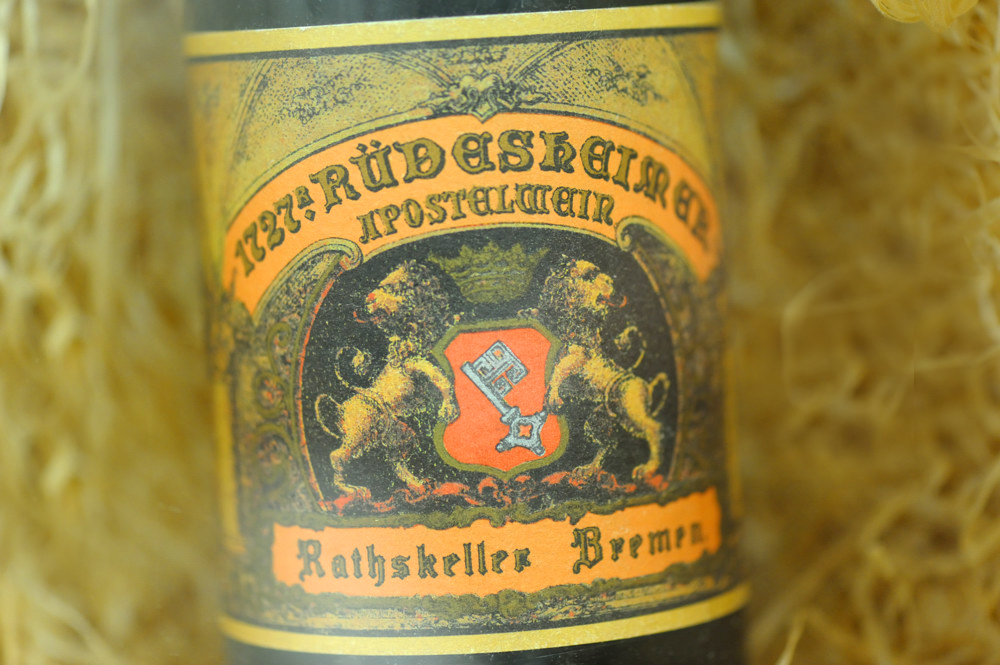 A bottle of 1727 wine in the Bremen Ratskeller