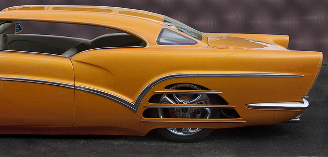 Detail of a radical custom that began life as a 1959 Buick